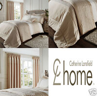 Catherine Lansfield Lille Gold Duvet Quilt/Cover Matching Accessoires Available