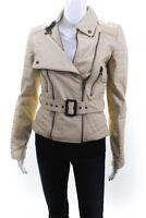W118 By Walter Baker Womens Double Front Zip Faux Leather Jacket Beige Small