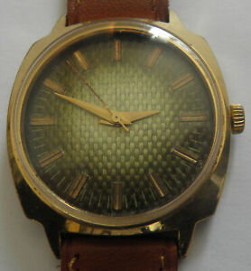 """""""LUCH""""- 23jew-GOLD PLATED- OLD USSR WRIST WATCH MEN,S"""