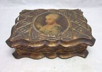 Wood Florentine gesso box made in Italy. Baby portrait print