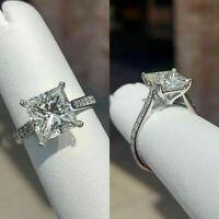 3.00Ct Princess Cut Gorgeous Diamond 14K White Gold Over Women's Engagement Ring