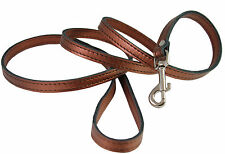 "Genuine Leather Dog Leash 52"" long Silver Gold Bronze for Small Breeds"