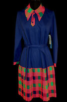 RARE DEADSTOCK CLASSIC VINTAGE 1970'S BLUE+PLAID DRESS