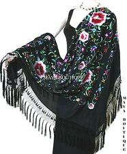 Embroidered Silk Piano Shawl Wrap Flamenco Black Multi Roses Detailed Fringe 61""