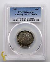 1892 Barber Silver Quarter 25c PCGS Graded UNC Details