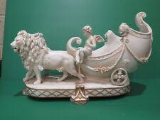 Porzellanfabrik E & A Muller Parian Carriage Figurine Lions Putti