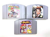 AUTHENTIC Nintendo 64 N64 3 Game Lot Super Smash Bros Mario Kart 64 & Golden Eye