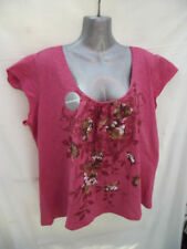 Cap Sleeve Machine Washable Floral Regular Size Tops for Women