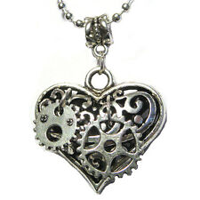 """Steampunk Gears Mechanical Puffy Heart Charm Silver Plated 24"""" Necklace"""