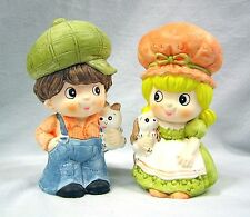 Vtg 1970's Girl & Boy Holly Hobby Style Standing Banks w Stoppers Taiwan Money