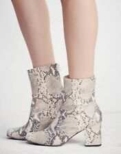 Free People Leather Boot Cecil Ankle Booties Grey Snakeskin US 9 FP Exclusive