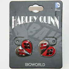 Suicide Squad DC Comics Harley Quinn Red Black Heart Logo Post Stud Earrings NEW