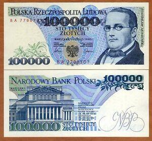 Poland, 100000 (100,000) Zlotych, 1990, P-154, UNC
