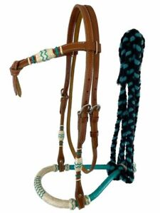 Western Horse Bosal Hackamore Leather + Rawhide Bridle Headstall w/Cotton Mecate