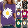 Women Daisy Print T-Shirt Short Sleeve Large Size Casual Loose Tops Blouse Tee