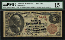 1882 $5 NBN Louisville, KY - Brown Back - FR-471 Charter 4145 - PMG 15