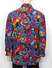 Vtg 70s Style Mens Psychedelic Crazy Pattern Retro Prince Shirt  Festival XL/XXL
