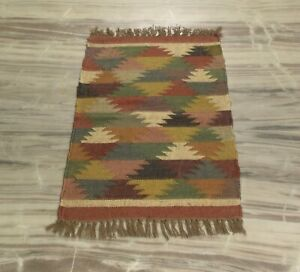 Bohemia Modern Bedside Flat Woven Jute Wool Natural Rug 2x3 Feet DN-2142