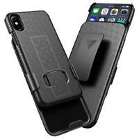 BLACK HARD SLIM TOUGH CASE + BELT CLIP HOLSTER For Apple iPhone X/XR/XS/XS MAX