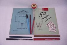 Lot ancien SET D'ECOLIER Neuf Porte plumes Cahiers Taille Crayon Ecriture (4)