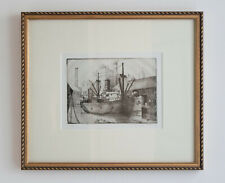 Ship at the Docks etching - Signed and numbered original print - newly framed