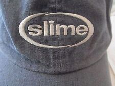 Vintage SLIME Blue-Gray Distressed 100% Cotton Adj OSFM Beanie Ball Cap Hat!