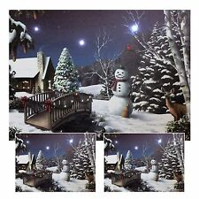 LED Wandbild mit Beleuchtung Winterstimmung Schneemann Leuchtbild 40 x 30 cm