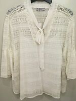 Marks & Spencer White Lace Crochet Blouse Top Size 18 New With Tags 3/4 sleeve