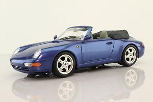 Burago 1:18; 1993 Porsche 911 Carrera Open Top, Metallic Blue; V Good Unboxed