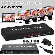 1080P 4 Way HDMI Splitter Amplifier Switcher Hub For HDTV SKY Box STB PS3-Xbox