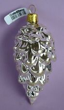 VINTAGE CHRISTMAS SILVER PINECONE TREE ORNAMENT CZECH REPUBLIC NWT