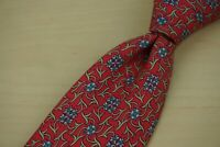 Hermes Cherry Red Yale Blue Floral Silk Floral Pattern Tie 7426 HA