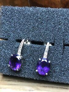 Ladies 925 Silver Amerthyst drop Earrings