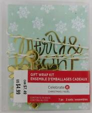 Celebrate It Gift Wrap Kit New Gift Tags Set of 3 Merry and Bright Snowflakes