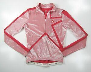 CASTELLI Womens Small Pink Star Velour Cycling Bike Jersey