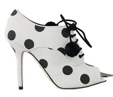 6f5663f8f4 Dolce & Gabbana Shoes BOOTIES PEEP Toes White Polka Dot Eu36 / Us5.5