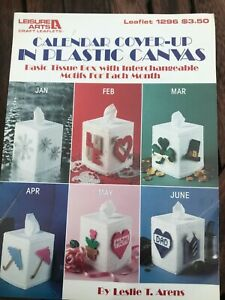 Leisure Arts Leaflet 1296 Calendar Cover-up in Plastic Canvas Tissue Box Covers