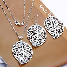 925 Silver Filled Leaves Pendant Necklace Earring Women's Fashion Jewelry Set