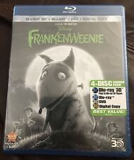Frankenweenie 3D (Blu-ray/DVD/3D/Digital, 2013, 4-Disc) NEW! Disney 3D