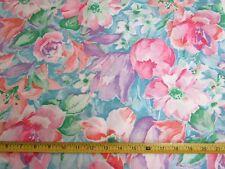 Vintage Wamsutta Linen Fabric Silky Apparel Decor Pink Purple Flowers 45W BTY