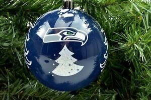 """Seattle Seahawks NFL Football Team 3"""" Plastic Christmas Holiday Ornament"""
