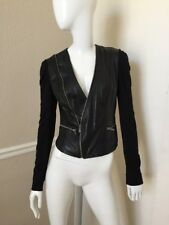 BCBG MAXAZRIA Black Leather Contrast Panel Zippered Cropped Fitted Jacket Sz XS