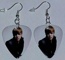 "Plated Dangle Jewelry ""My World 2.0"" Justin Bieber Guitar Pick Earrings Silver"
