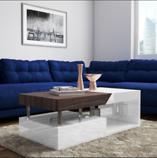 Contemporary Coffee Table Large Modern Furniture White High Gloss Storage Drawer