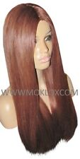 "Remy Human Hair Wig Glueless Full Lace 22"" Long Straight Auburn Red 33 Moklox UK"