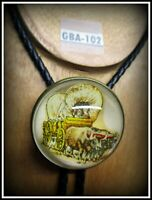 Vintage Glass Bridle Rosette BOLO or Pin or TIE Man Driving Covered Wagon