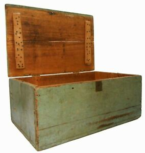 19TH C AMERICAN ANTIQUE NEW ENGLAND PRIMITIVE BLUE-GREEN PAINTED SMALL BOX W/LID