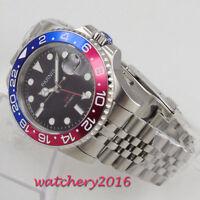 40mm PARNIS GMT Saphirglas Datum Pepsi bezel Automatisch Mechanish men's Watches