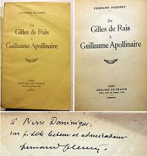 FLEURET/DE GILLES DE RAIS A APOLLINAIRE/ED MERCURE DE FR/1933/EO/ENVOI/CURIOSA