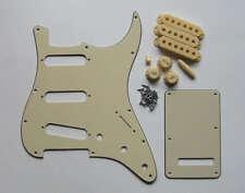 ST Strat Pickguard Back Plate w/ Cream Pickup Covers Knobs Tips Screws